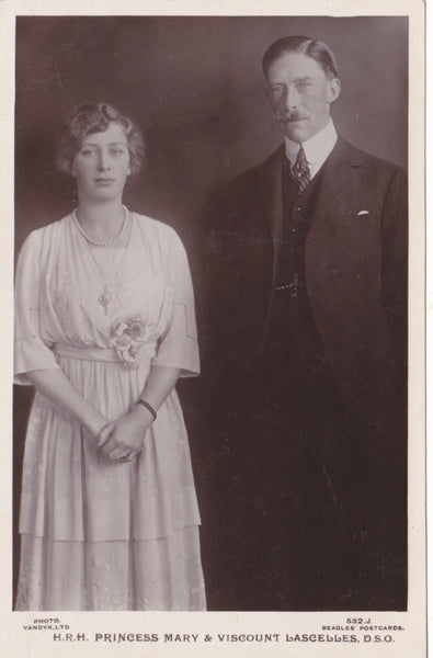 Real photo postcard of HRH Princess Mary and Viscount Lascelles, DSO
