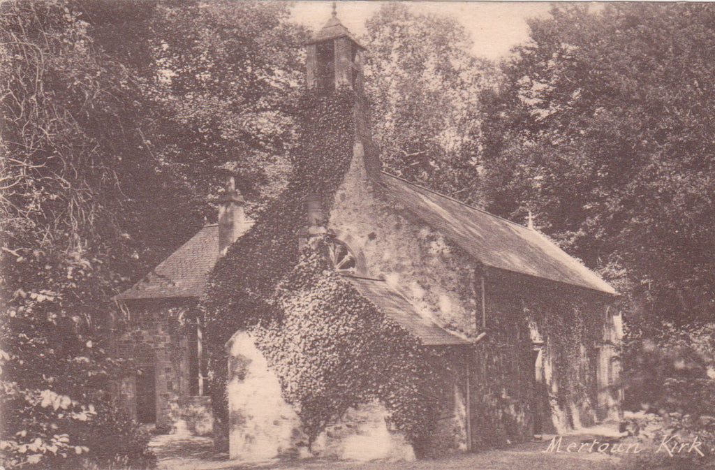 Old postcard of Mertoun Kirk, Roxbughshire