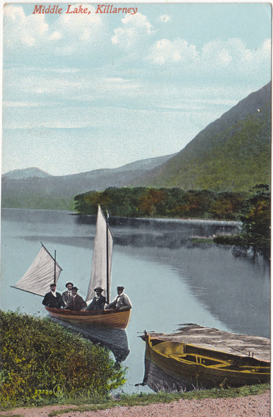 Old postcard of Middle Lake, Killarney, Co Kerry
