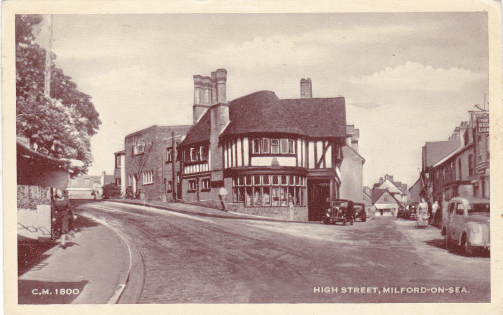 Old postcard of High Street, Milford on Sea, Hampshire