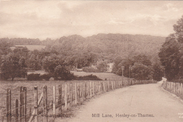 Old postcard of Mill Lane, Henley-on-Thames in Oxfordshire