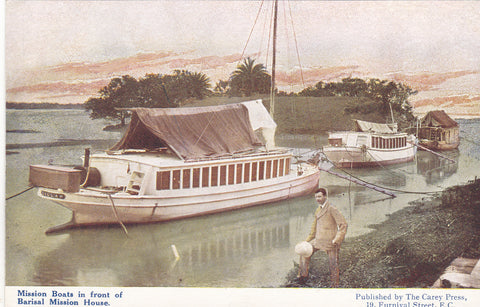 Old postcard of Mission Boats in front of Barisal Mission House - India