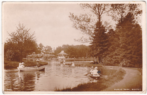Real photo postcard of Public Park, Moffat