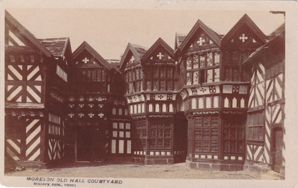 Pre 1918 real photo postcard of Moreton Old Hall nr Congleton