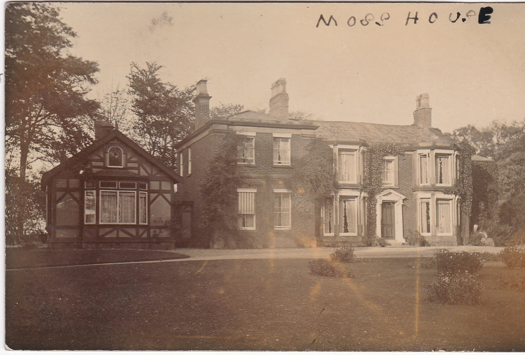 Old real photo postcard of Moss House, possibly Preston