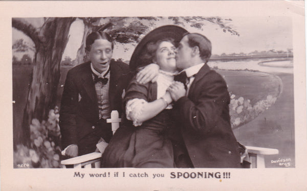 FOUR REAL PHOTO 'MY WORD' POSTCARDS POSTED 1908 (ref 1699)