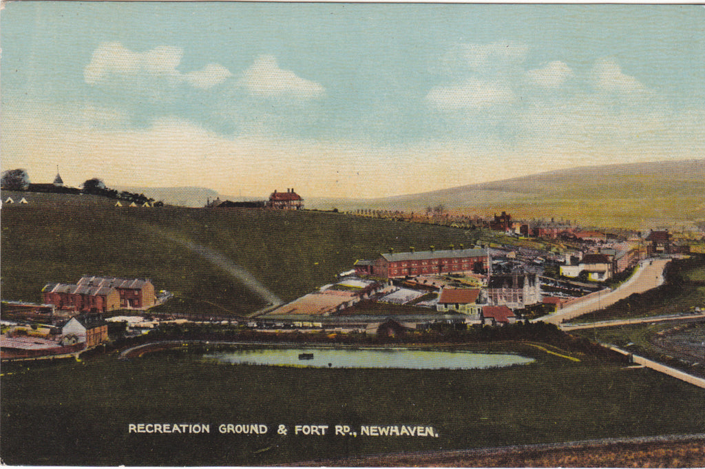 Old postcard of Recreation Ground & Fort Rd, Newhaven