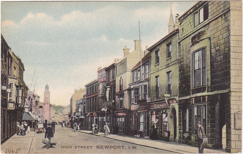Old postcard of High Street, Newport, Isle of Wight