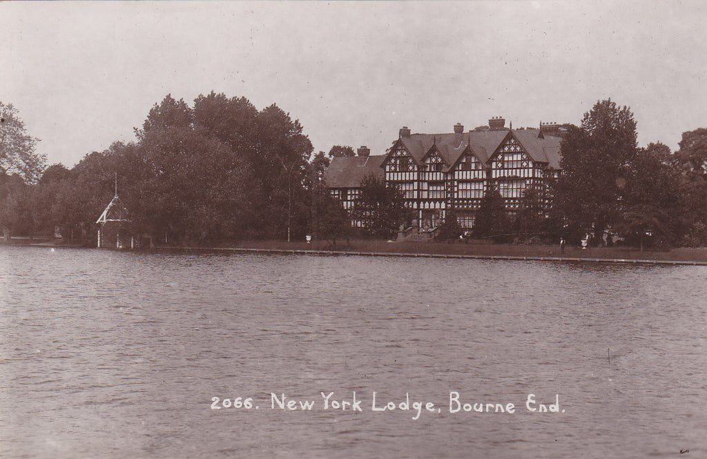 Old real photo postcard of New York Lodge, Bourne End in Buckinghamshire