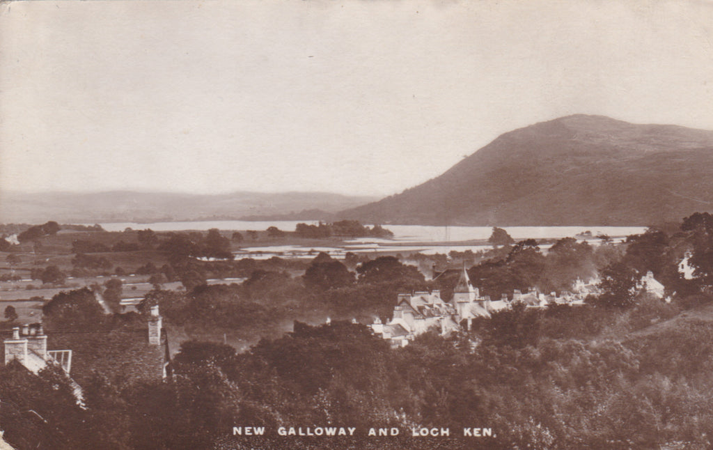 Old postcard of New Galloway and Loch Ken