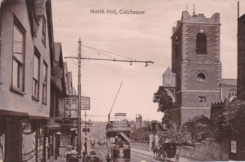 Old postcard of North Hill, Colchester
