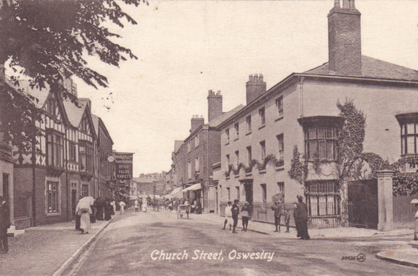 Old postcard of Church Street, Oswestry in Shropshire