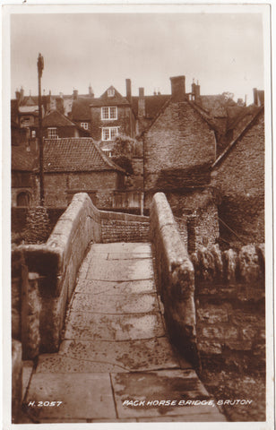Real photo postcard of Pack Horse Bridge, Bruton in Somerset
