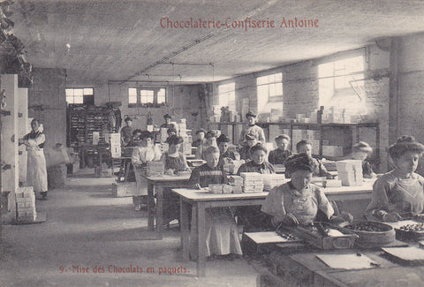 Postcard, chocolate packers at a factory in Belgium
