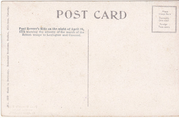 PAUL REVERE'S RIDE ON NIGHT OF APRIL 18 1775 - OLD POSTCARD (ref 2576/17)