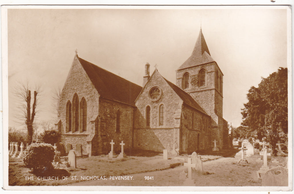 Real photo postcard of Church of St Nicholas, Pevensey in Sussex