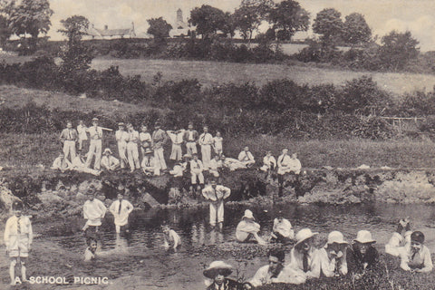Old postcard of A School Picnic, published by Mostyn House School, Parkgate