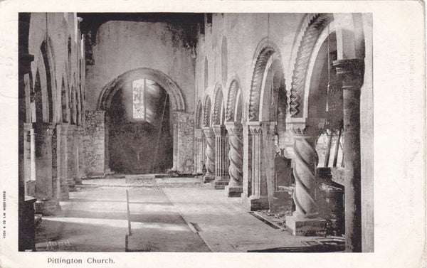 Old postcard of the interior of Pittington Church, Co. Durham