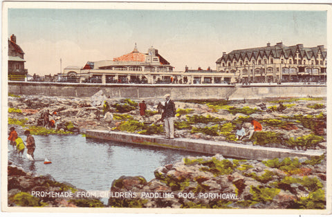 Old postcard of Promenade from Children's Paddling Pool, Porthcawl