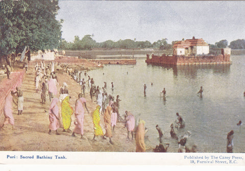Old postcard of India -  Puri, Sacred Bathing Tank