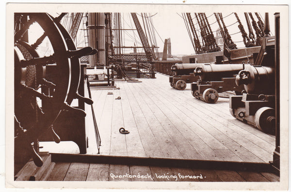 QUARTERDECK LOOKING FORWARD - REAL PHOTO POSTCARD (ref 3859)