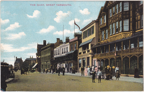 Old postcard of The Quay, Great Yarmouth