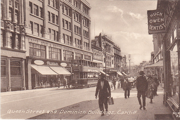 Old postcard of Queen Street and Dominion Buildings, Cardiff