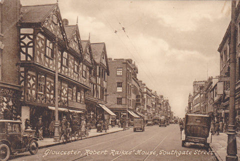 Old postcard of Robert Raikes' House, Southgate Street, Gloucester