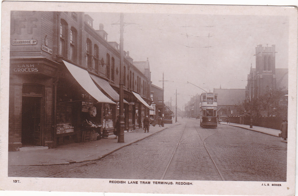 REDDISH LANE TRAM TERMINUS, REDDISH - OLD REAL PHOTO POSTCARD