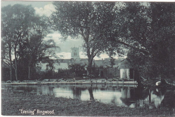 Old evening scene postcard at Ringwood, Hampshire