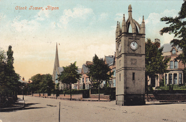 Clock Tower, Ripon, 1908 postcard with duplex postmark