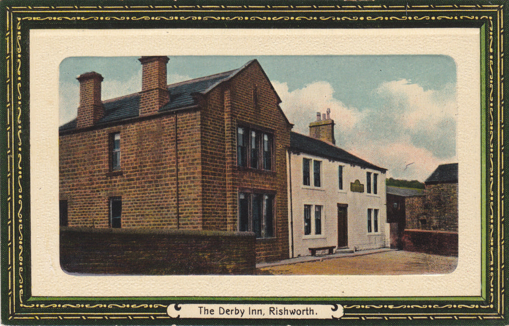 The Derby Inn, Rishworth, old embossed colour postcard