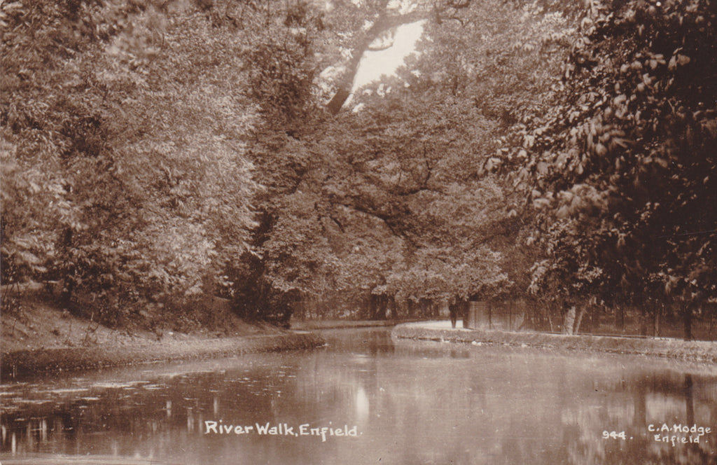 Real photo postcard of River Walk Enfield, Middlesex
