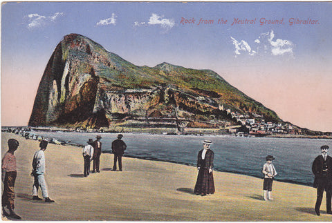 Old postcard of the Rock, from Neutral Ground, Gibraltar