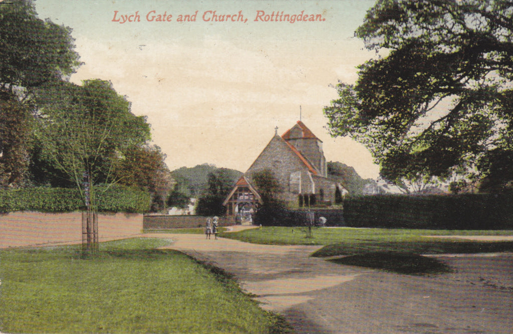 LYCH GATE AND CHURCH, ROTTINGDEAN - 1911 SUSSEX POSTCARD