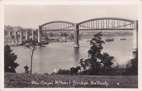 Real photo postcard of The Royal Albert Bridge, Saltash in Cornwall