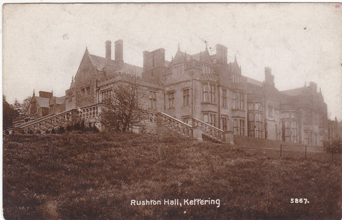 Old real photo postcard of Rushton Hall, Kettering