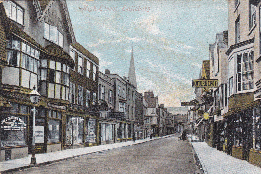 Old postcard of Salisbury High Street