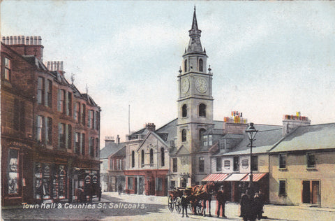 Old postcard of Town Hall and Counties Street, Saltcoats in Ayrshire