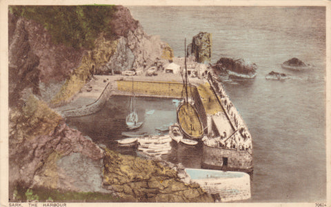 Old postcard of Sark Harbour, Channel Isles