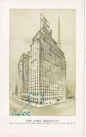 THE PARK SHERATON - OLD NEW YORK POSTCARD