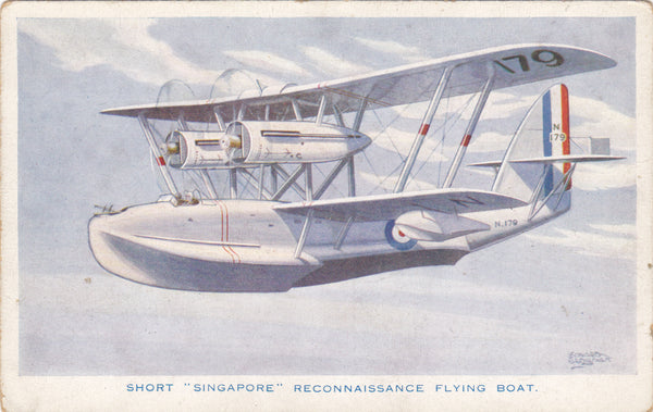 "SHORT ""SINGAPORE"" RECONNAISSANCE FLYING BOAT - OLD POSTCARD"