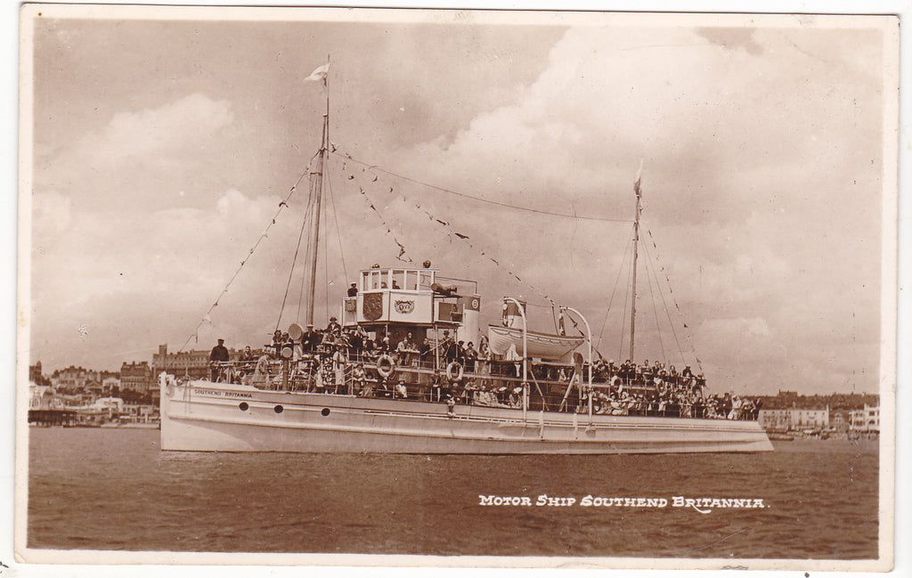 Old real photo postcard of Motor Ship Southend Britannia