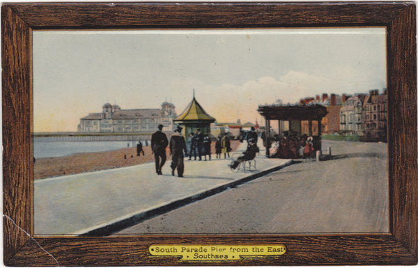 Old postcard of South Parade Pier from the East, Southsea in Hampshire