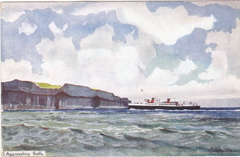 Vintage art postcard entitled Approaching Staffa