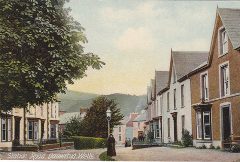 Old postcard of Station Road, Llanwrtyd Wells in Breconshire, Wales