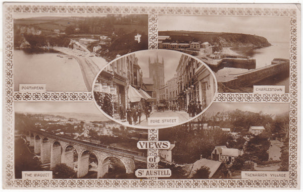 Views of St Austell, 1920s multiview real photo postcard