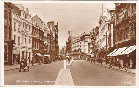 1950s real photo postcard of St Mary Street, Cardiff