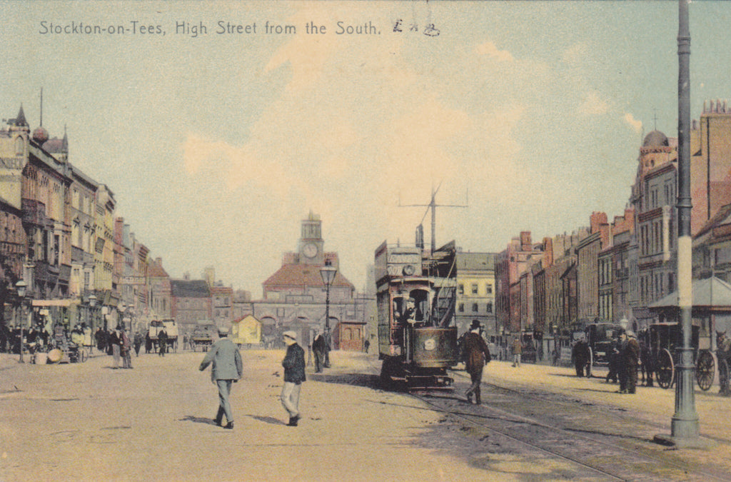 Old postcard of High Street from the South, Stockon on Tees, Durham
