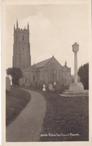 STOKE HARTLAND CHURCH - DEVON - REAL PHOTO POSTCARD (ref 3639/18)